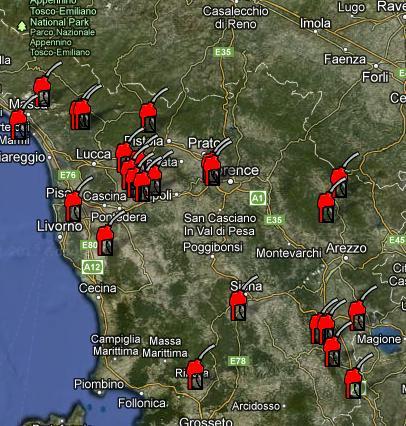 mappa pompe bianche Toscana