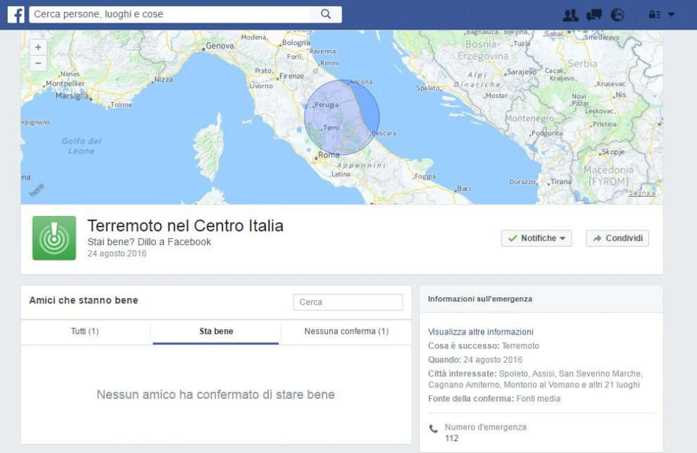 Facebook Safety Check per Terremoto in Italia